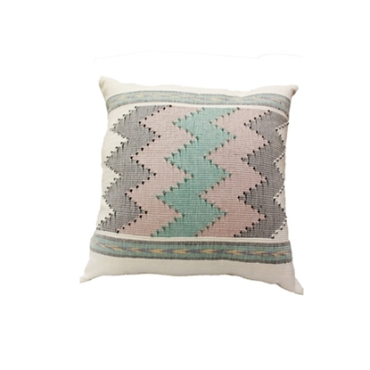 "Picture of PHUTHAIFAINGAM Handmade cotton pillow cover - Colorful Zigzag Pattern Size 18"" x 18"""