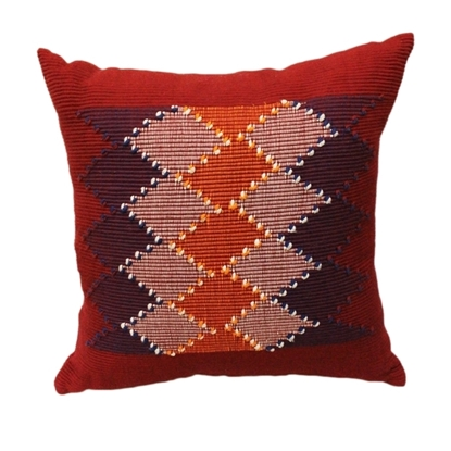 "Picture of PHUTHAIFAINGAM Handmade cotton pillow cover - Grid Pattern Size 18"" x 18"""
