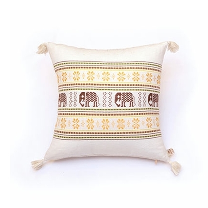"Picture of PHUTHAIFAINGAM Handmade cotton pillow cover - Khit Chang Taw Pattern Size 16"" x 16"""