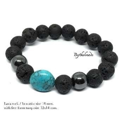 Picture of สร้อยข้อมือ Lava Rock / Hematite / Turquoise
