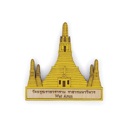 Picture of Thailand Souvenir Wooden Fridge  Magnet: Wat Arun