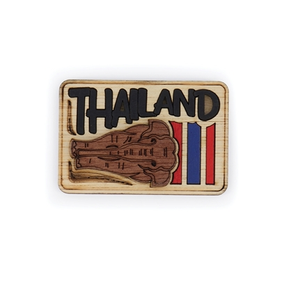 Picture of Thailand Souvenir Wooden Fridge Magnet: Thai Elephant