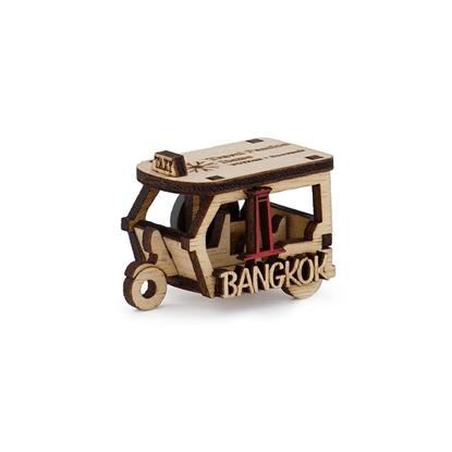 Picture of Thailand Souvenir Wooden Fridge Magnet: Tuk-Tuk Taxi Bangkok