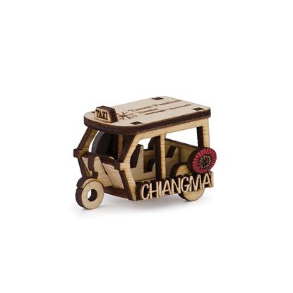 Picture of Thailand Souvenir Wooden Fridge Magnet -Tuk-Tuk Taxi Chiang Mai