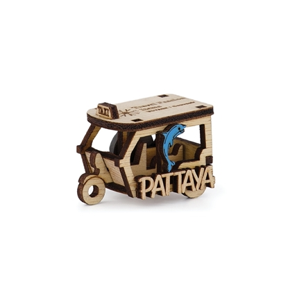 Picture of Thailand Souvenir Wooden Fridge Magnet -Tuk-Tuk Taxi Pattaya