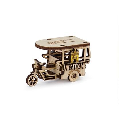 Picture of Laos Souvenir Wooden Fridge Magnet:  Motorcycle Taxi Vientiane, Laos