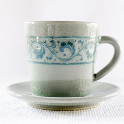 Picture of Blue coffee cup and saucer celadon