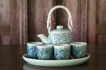 Picture of Blue tea set - Flower carving celadon