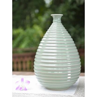 Picture of Drop Vase Swirl Celadon