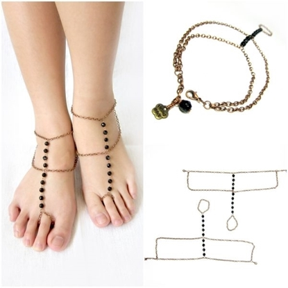 Picture of Anklet Toe Ring, Barefoot Sandals, Footwear, Foot slave with Black Bead and Brass chain Adjustable Feet Accessories