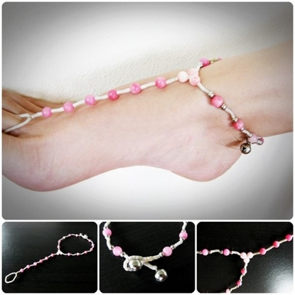 Picture of Anklet-toe-Ring, Barefoot Sandals – footwear, Stone Bead, Wax Cord, Bohemian, Ankle bracelet Handmade Thailand Jewelry.