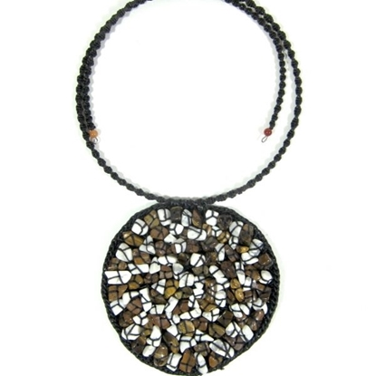 Picture of Circle Choker Weave Stone Beads Necklace