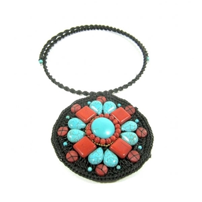 Picture of Circle Choker Weave Turquoise and Red Stone Necklace