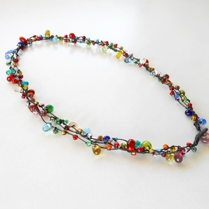 Picture of Colorful Glass Beads, Wax String Necklace Handmade Thailand Jewelry