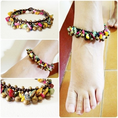 Picture of Colorful Sea Shells Anklet with Brass Bells, Wax String Anklet Handmade, Thailand Jewelry.