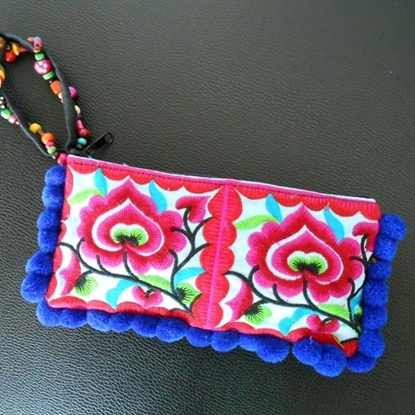 Picture of Cotton Flower Colorful embroidered purse decorate