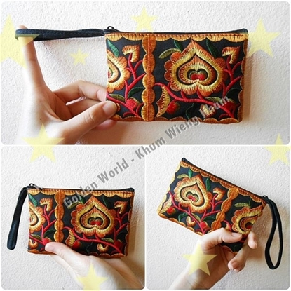 Picture of Cotton Flower Colorful purse Embroidery Chinese