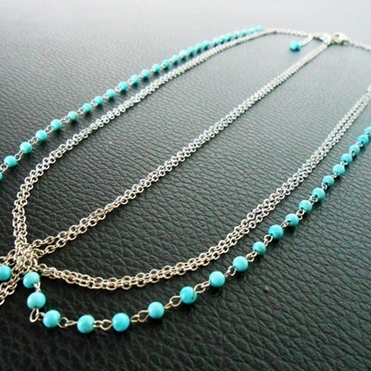 Picture of Hair Chains Accessory, Silver or Gold Chains with Turquoise Beads