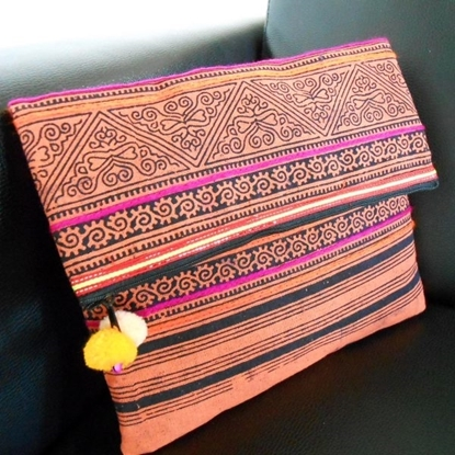 Picture of Handmade Clutch Bag Tribal Patterned Fabric