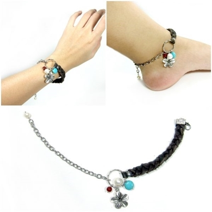 Picture of Plait Leather Anklet and Silver Chain with Beads Stone, Bracelet jewelry, Foot Bracelet, Handmade