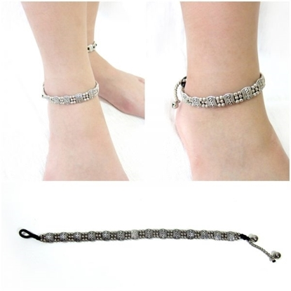 Picture of Silver Ankle bracelet Adjustable Size, Wax String with Charm Beads Handmade Hmong Thailand Jewelry.