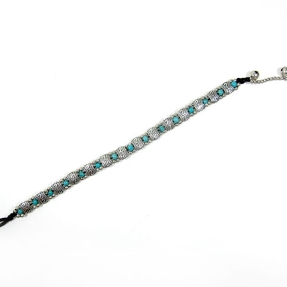 Picture of Silver Anklet Adjustable Size, Wax String with Beads Handmade Hmong Thailand Jewelry.