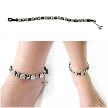 Picture of Silver Anklet Adjustable Size, Wax String with Fish Beads Handmade Hmong Thailand Jewelry.