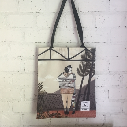 Picture of Couple Hug Fabric Tote Bag
