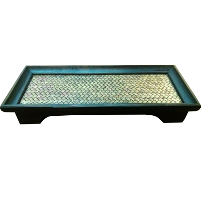 Picture of Mango wood & bamboo woven tray 15 x 35 cm.