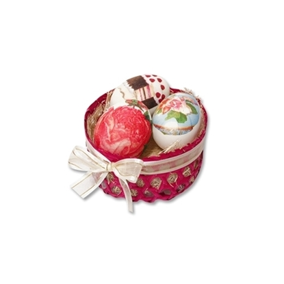Picture of Fancy egg special gift 3 pcs. with red basket