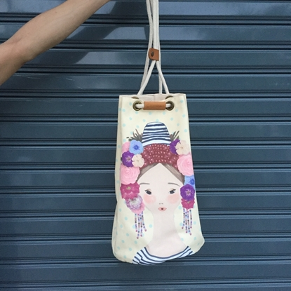 Picture of Drawstring Backpack, 100% Cotton Bag, Beautiful Print Design Thai Style Shoulder Bag, White