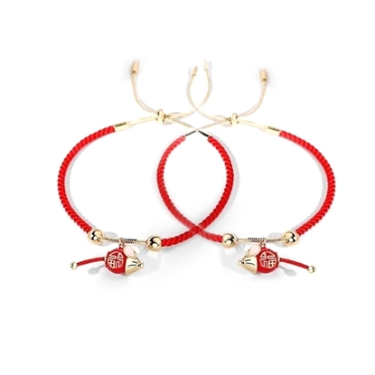 Picture of Couple Red String Bracelet  with Mouse (2 pcs.)