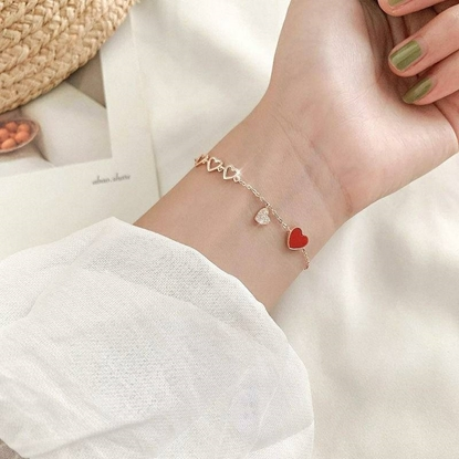 Picture of Fashion Gold Bracelet, Red Heart Shaped Pendant Set with Diamonds