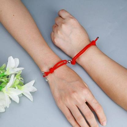 Picture of Couple Bracelet, Handmade Rope Bracelet, Red Color For Men, Women