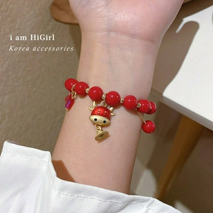 Picture of Cattle Shaped Crystal Bead Bracelet (Red)