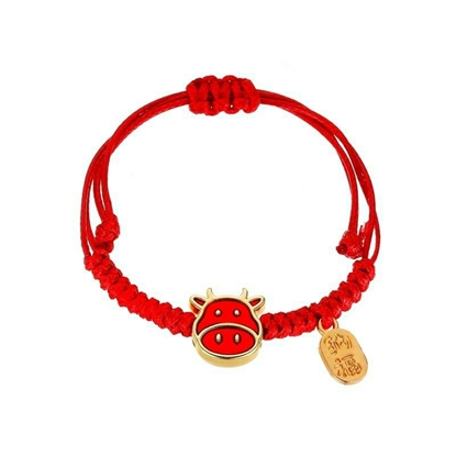 Picture of Red Rope Bracelet, Cow Pendant, Year of the Ox Bracelet